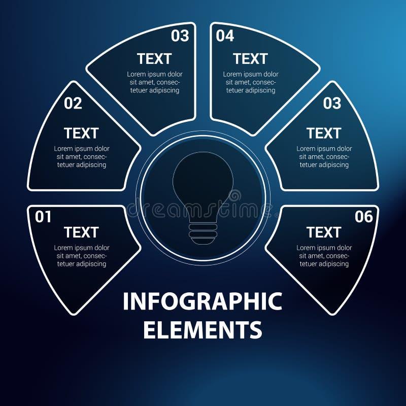 Infographicelementen, diagram met zes stappen stock illustratie