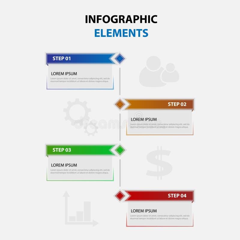 Infographicelementen, een ketting van stappen stock illustratie