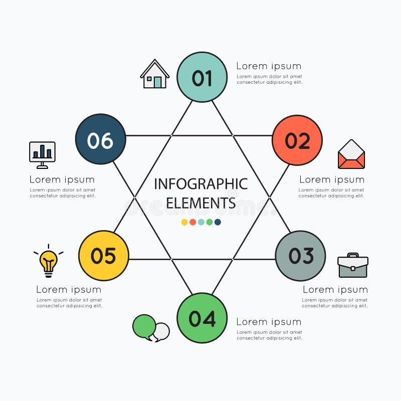 Infographicelementen en kleurrijke pictogrammen op witte achtergrond stock illustratie
