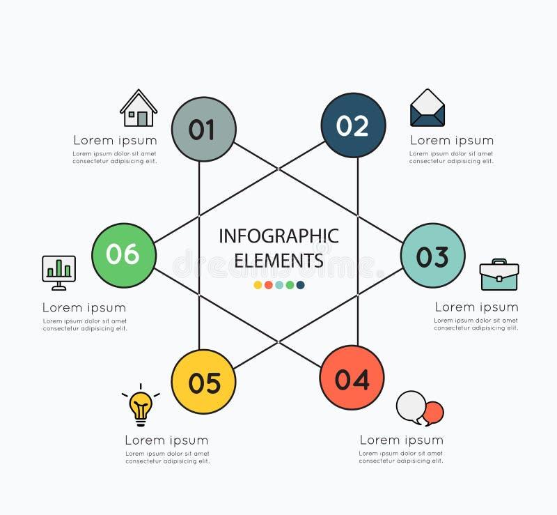 Infographicelementen en kleurrijke pictogrammen op witte achtergrond illu stock illustratie