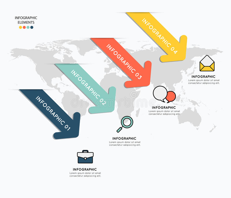 Infographicelementen met pictogrammen op kaartachtergrond stock illustratie
