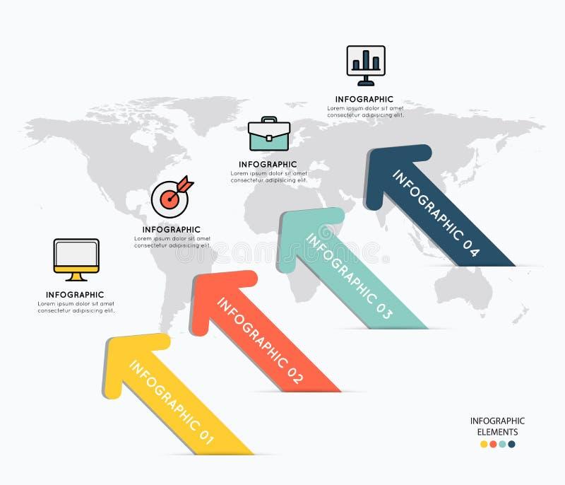 Infographicelementen met pictogrammen op kaartachtergrond royalty-vrije illustratie
