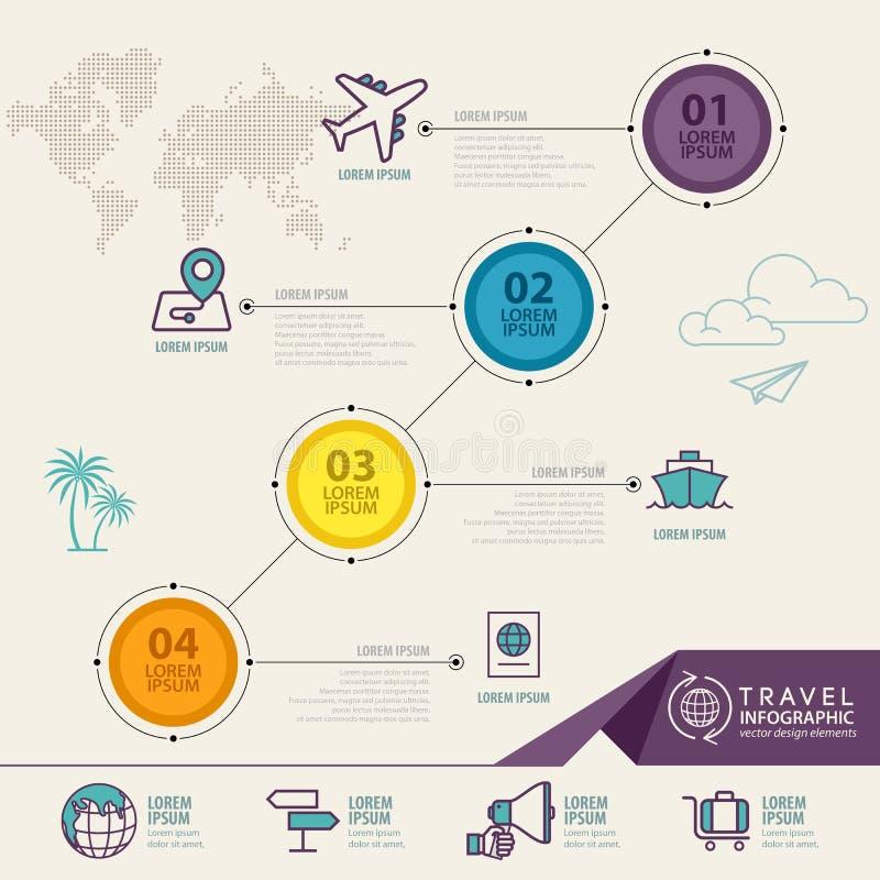 Infographicelementen met reispictogrammen kan voor infographic reis worden gebruikt royalty-vrije illustratie