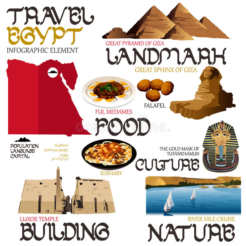 Infographicelementen voor het Reizen naar Egypte royalty-vrije illustratie