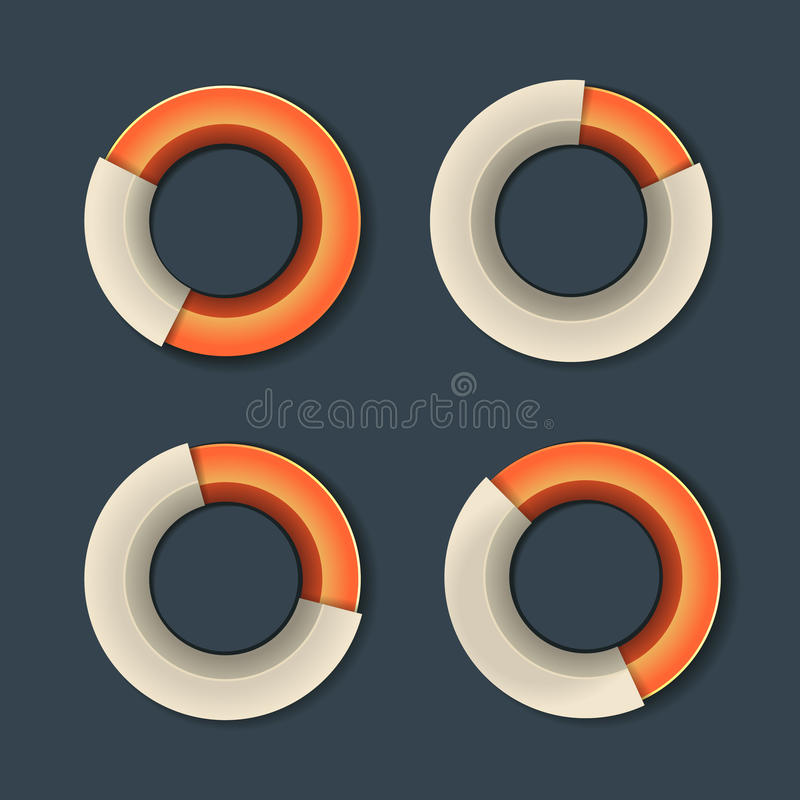 Infographicgrafiek Ring Diagram Set Vector stock illustratie