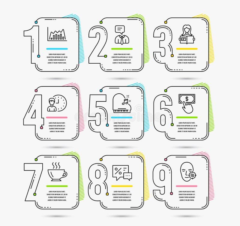 Infographicgrafiek, Werkuren en Kortingenpictogrammen Gelezen vrouw, Koffie en Pianotekens Vector stock illustratie