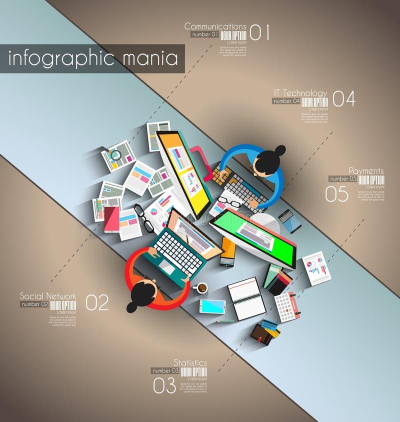 Infographicgroepswerk en het brainsotrming met Vlakke stijl stock illustratie