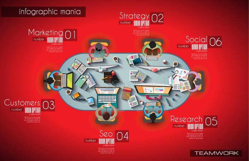 Infographicgroepswerk en het brainsotrming met Vlakke stijl vector illustratie