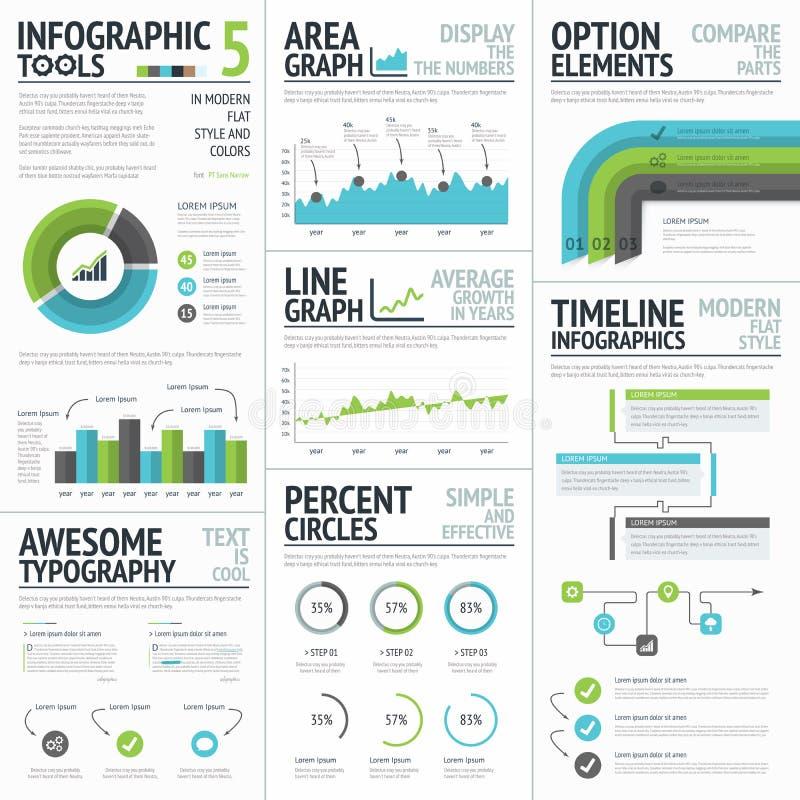 Infographichulpmiddelen en elementen om vectorinfographics tot stand te brengen vector illustratie