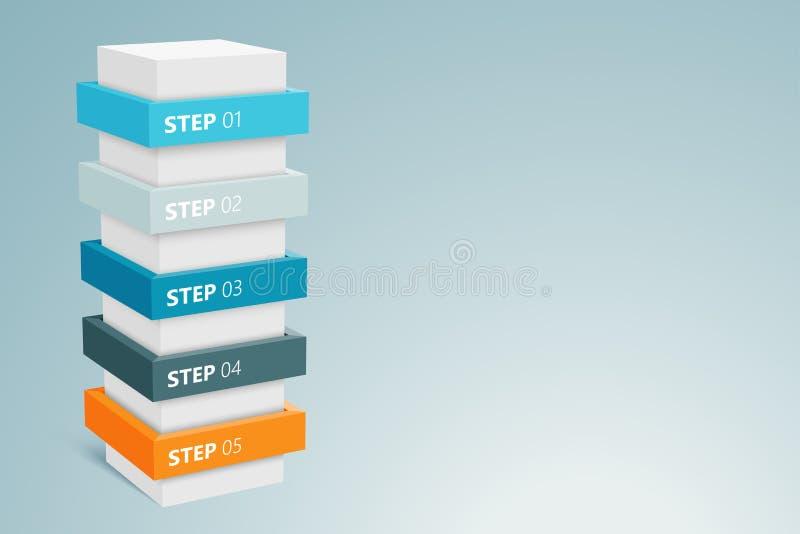 Infographickolom met 5 Stappen 3 stock illustratie