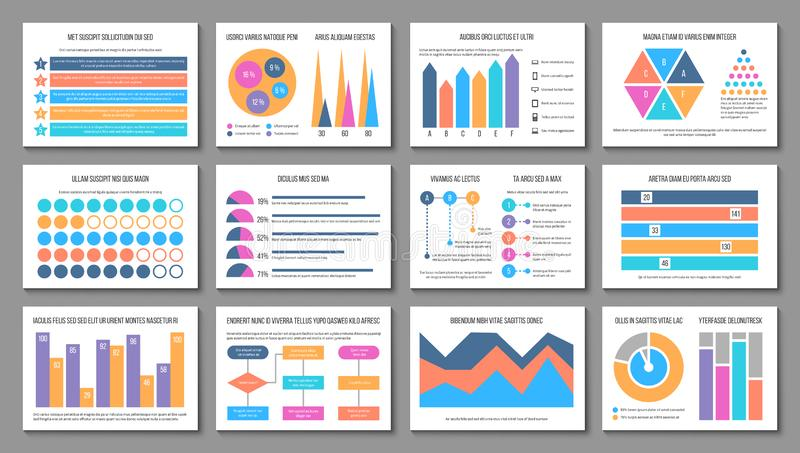 Infographiclay-out De grafiek van de bedrijfspresentatiegrafiek, collectief marketing rapport Multifunctionele financiëninfograph stock illustratie