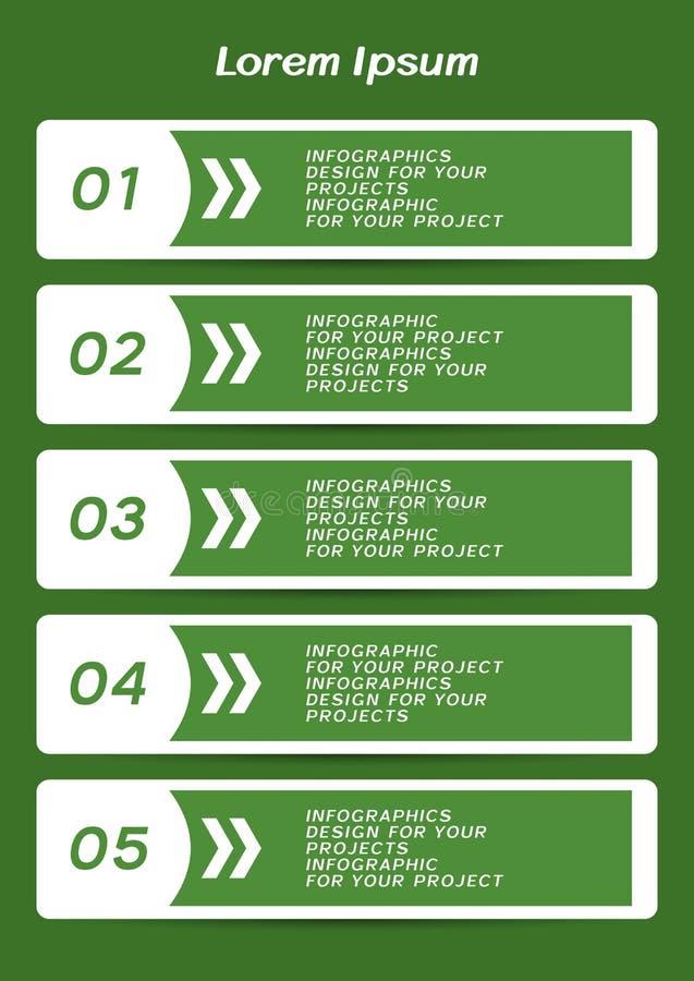 Infographiclijst of het ontwerp van de Webbanner met genummerde stappen vector illustratie