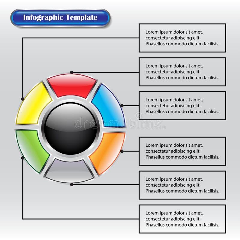 Infographicmalplaatje - Cirkel binnen Vierkante Knopen met Tekst royalty-vrije illustratie