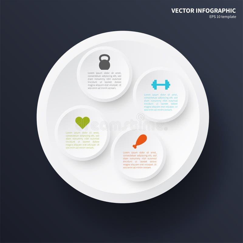 Infographicmalplaatje, cirkelelementen vector illustratie