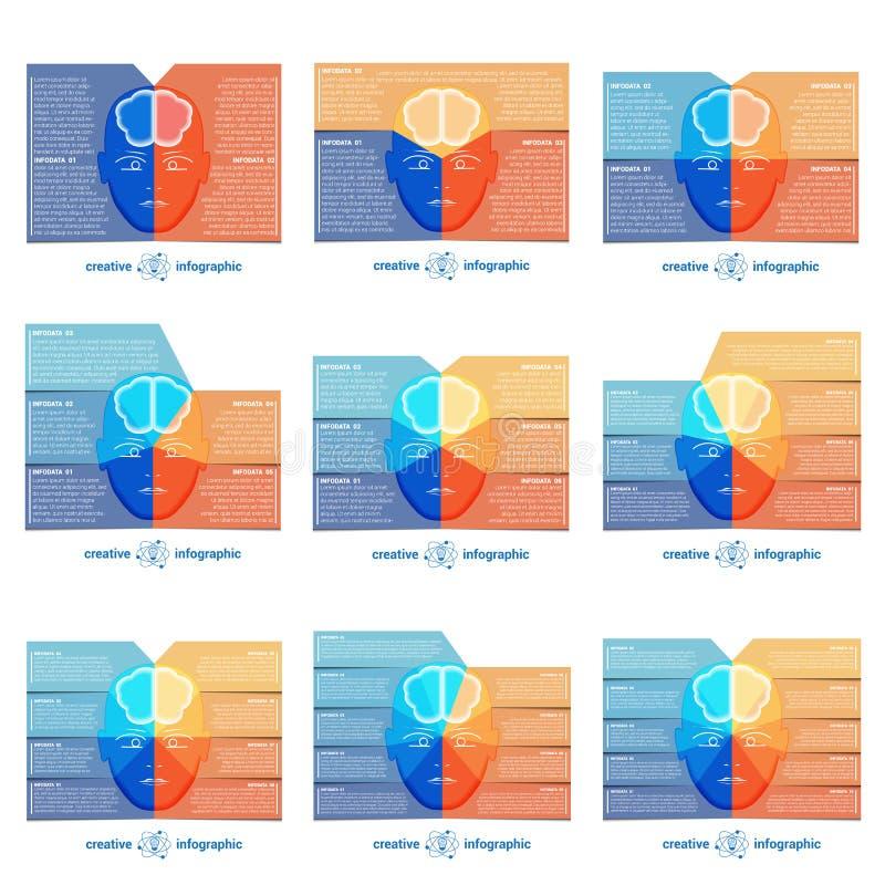Infographicmalplaatje met abstract hoofd, hersenen, plaats voor tekst stock illustratie