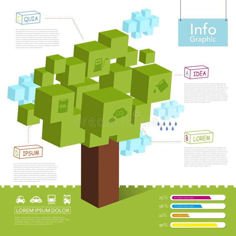 Infographicmalplaatje met 3d stijlboom en wolk royalty-vrije illustratie