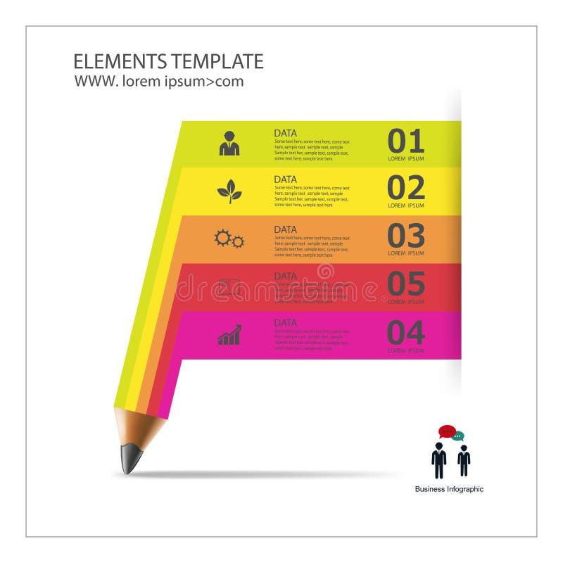 Infographicmalplaatje met de banner van het potloodlint vector illustratie