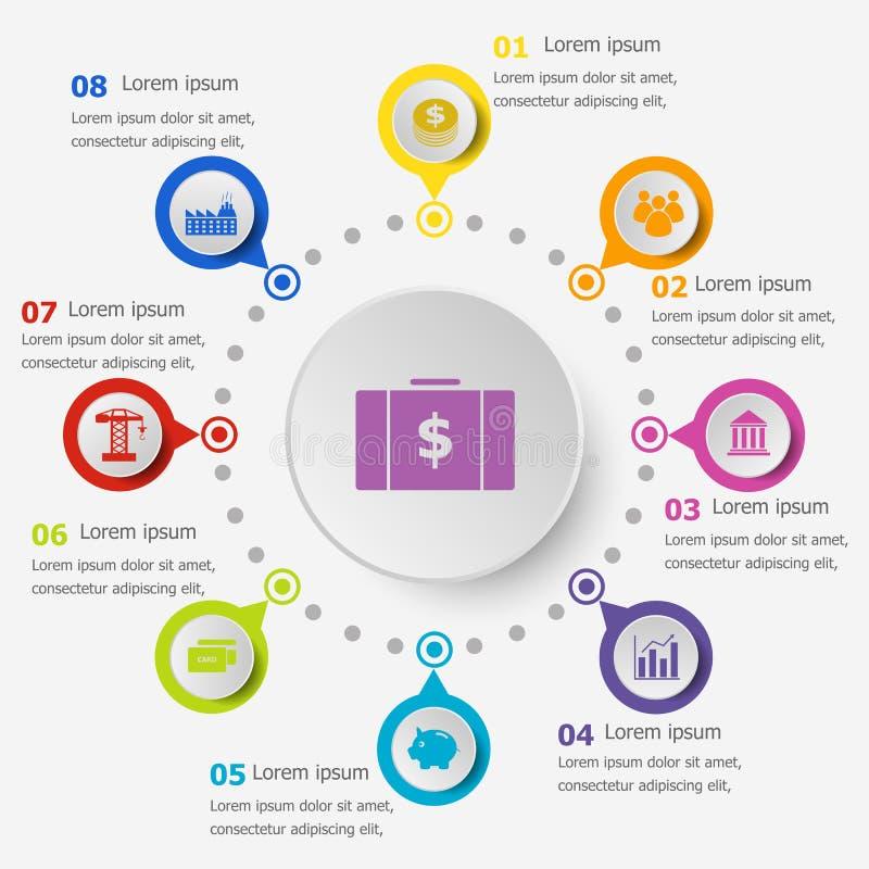 Infographicmalplaatje met economiepictogrammen vector illustratie