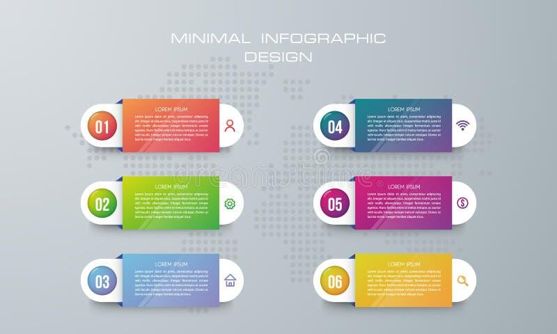 Infographicmalplaatje met 6 opties, banneroptie voor infographic vector illustratie