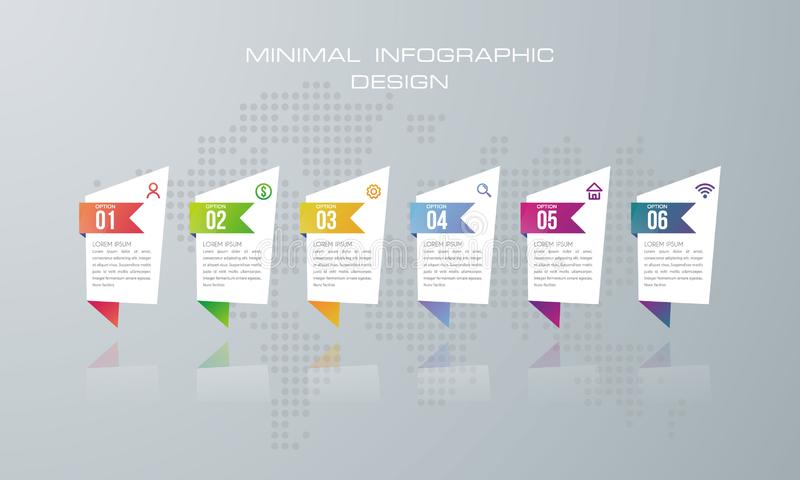 Infographicmalplaatje met 6 opties, banneroptie voor infographic royalty-vrije illustratie