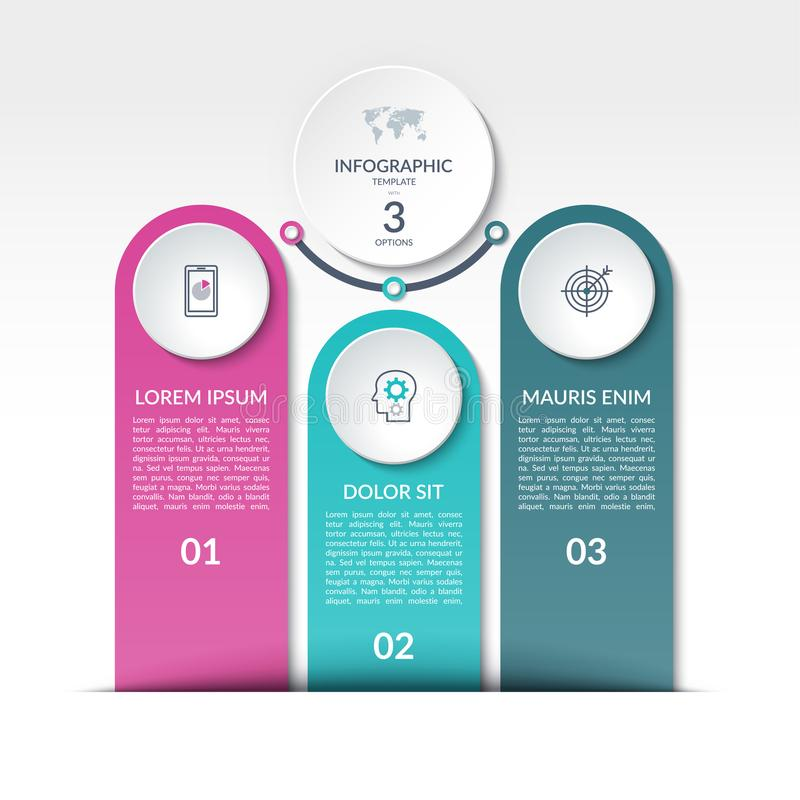 Infographicmalplaatje met 3 opties, stappen, delen vector illustratie