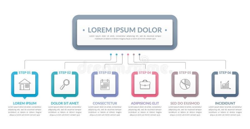 Infographicmalplaatje met 6 Stappen vector illustratie