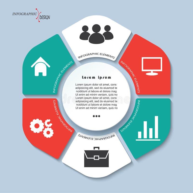 Infographicmalplaatje met 6 stappen en cirkel, delen royalty-vrije illustratie