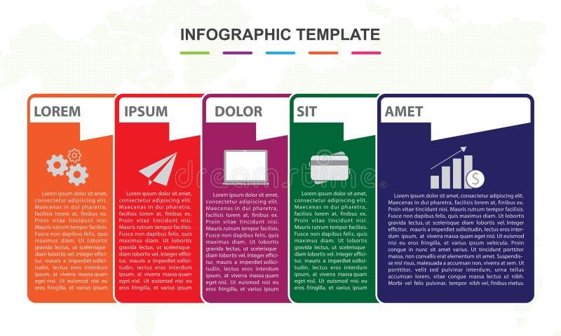 Infographicmalplaatje voor zaken het diagram van de de kaartchronologie van de 6 stappenspeld royalty-vrije stock foto's