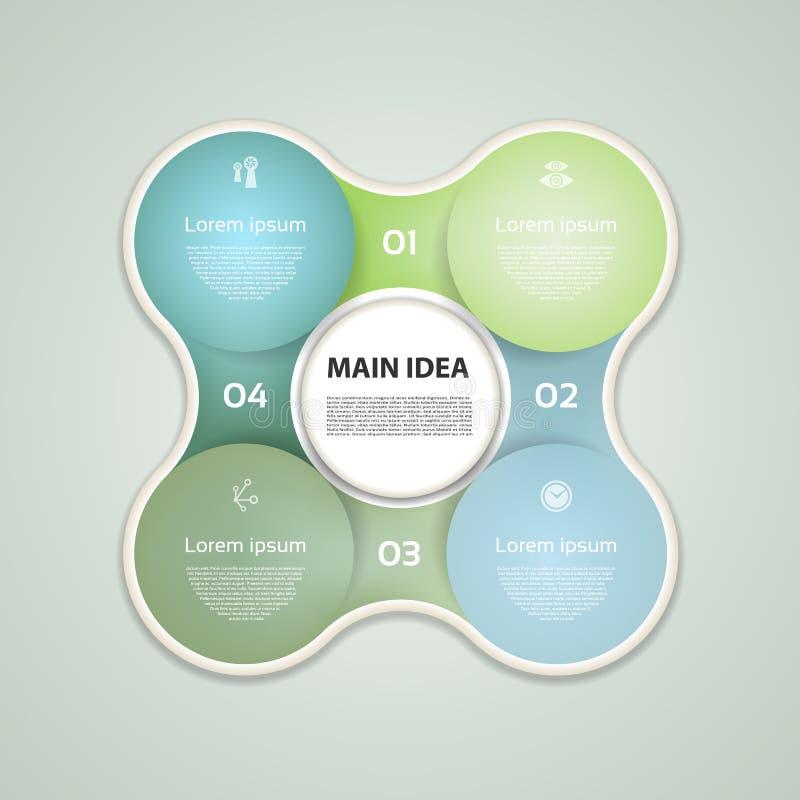 Infographicmalplaatje voor zaken Vier stappen die diagrammen cirkelen Vector illustratie vector illustratie