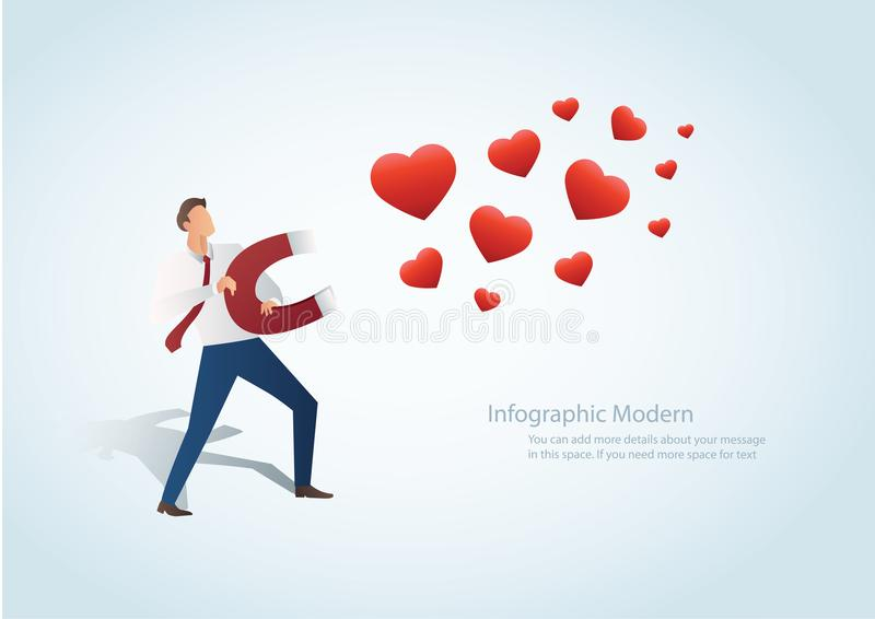 Infographicmens die het hart met een grote magneet vectorillustratie aantrekken stock illustratie