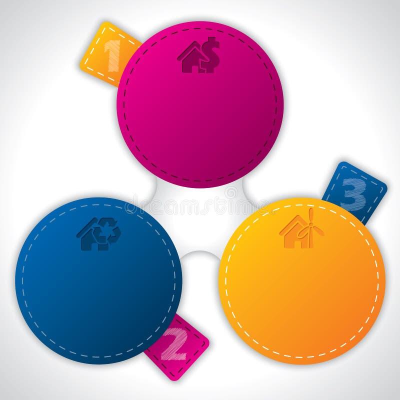 Infographicontwerp met gesorteerde kleurenetiketten vector illustratie