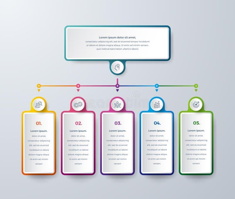 Infographicontwerp met moderne kleuren en eenvoudige pictogrammen Ontwerp het bedrijfs van Infographic met proceskeuzen of stappe vector illustratie