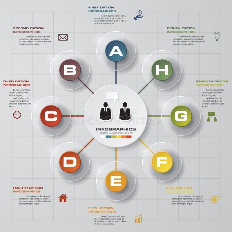 Infographicontwerp met 8 optiescirkels op de grijze achtergrond stock illustratie