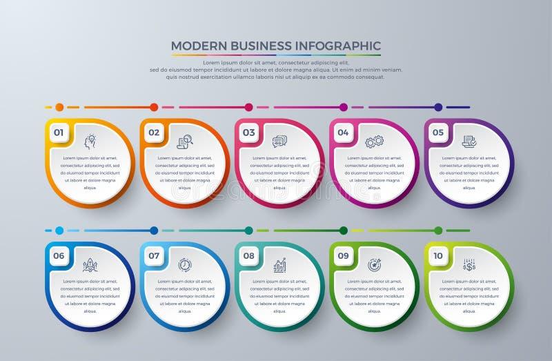 Infographicontwerp met 10 proceskeuzen of stappen Ontwerpelementen voor uw zaken zoals rapporten, pamfletten, brochures, royalty-vrije illustratie