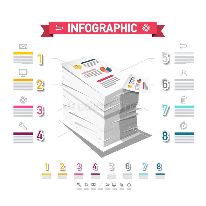 Infographicontwerp met Stapel van Document Vector Bedrijfsrapportconcept Acht Stappenbelastingen Infographics royalty-vrije illustratie