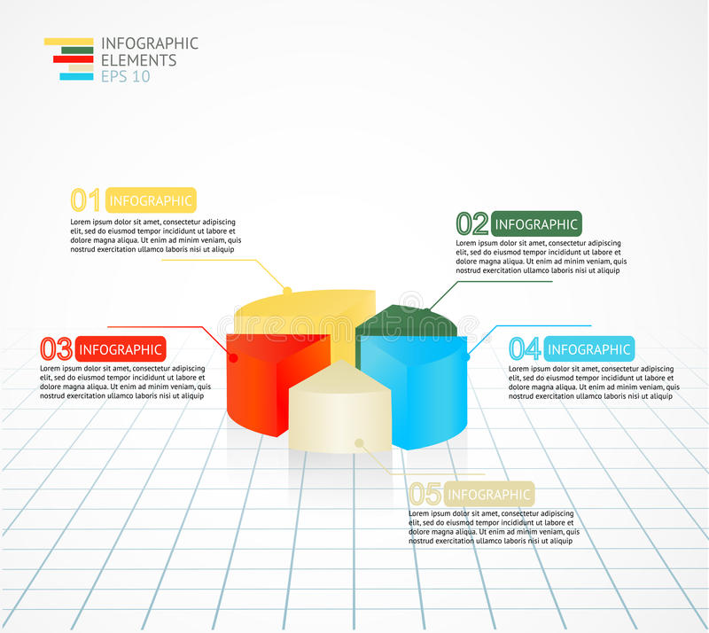 Infographics上色了圆形统计图表业务报告和介绍的图模板 皇族释放例证
