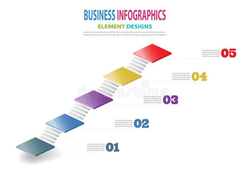 Infographics企业介绍的模板3D台阶 向量例证