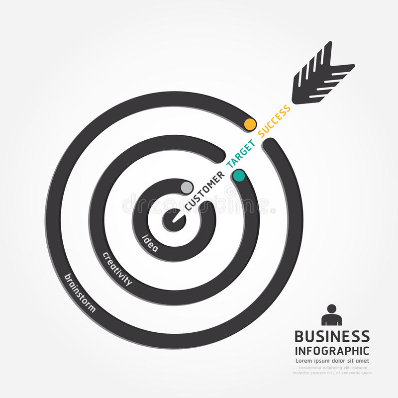 Infographics传染媒介企业箭头设计 顾客目标 库存例证