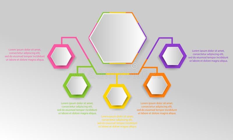 Infographics元素设计 抽象企业工作流礼物 库存例证