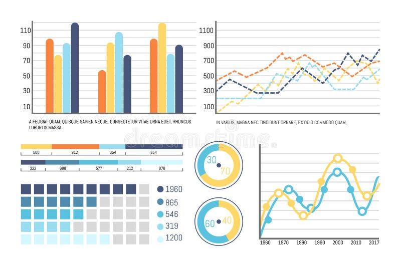 Infographics和流程图,圆形图信息 向量例证