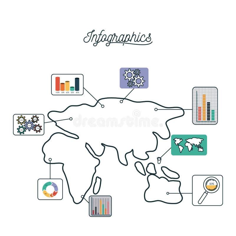 Infographics和统计与欧洲非洲亚洲和澳大利亚的地图 皇族释放例证