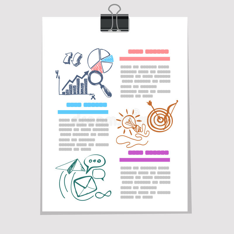 Infographics在老纸片的元素剪影 皇族释放例证