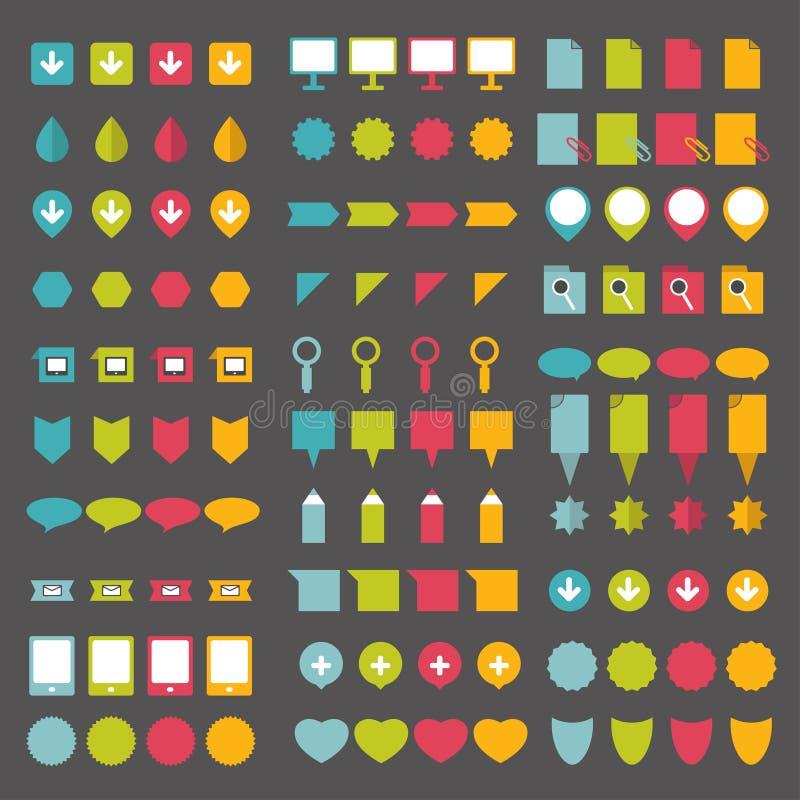 infographics平的设计尖的汇集 向量例证