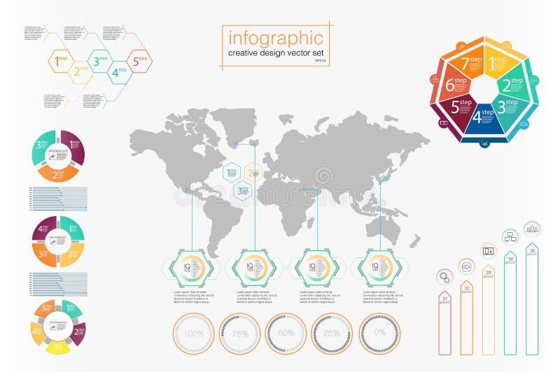 Infographics彩色组 五颜六色的Infographic元素 小册子的模板,事务,网络设计 皇族释放例证