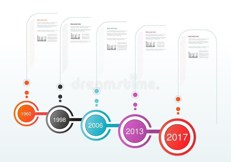 Infographics时间安排设计 与圆标签的模板 公司里程碑 事务的背景, infographic,图, fl 库存例证