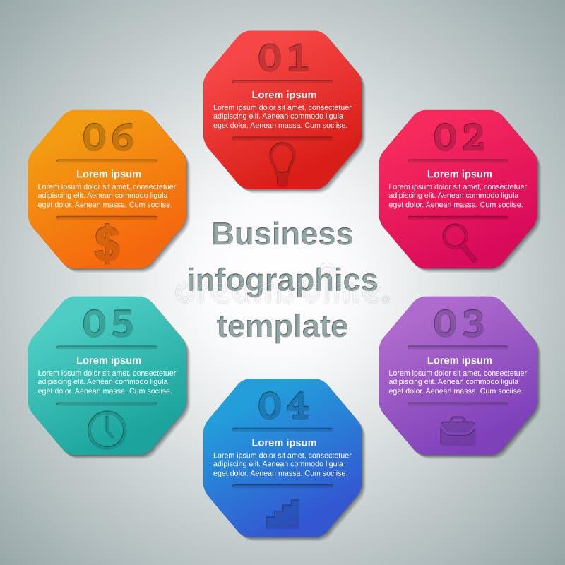 Infographics模板6选择,零件,步 到达天空的企业概念金黄回归键所有权 向量例证