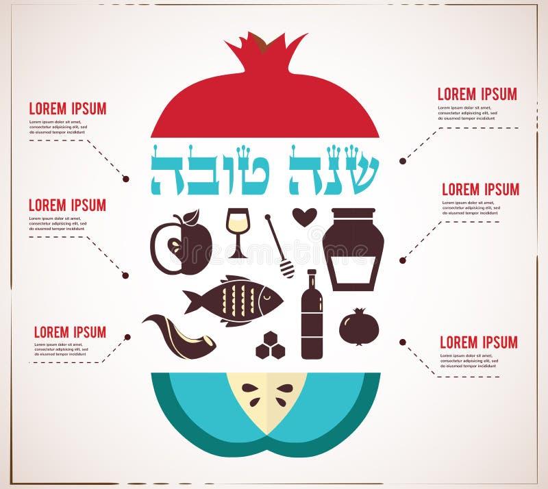 Infographics犹太新年,西伯来新年好,用传统果子 向量例证