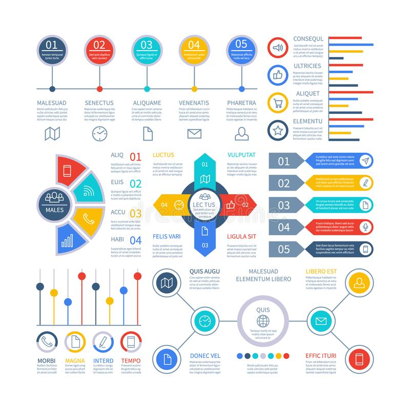 Infographics用图解法表示 Infochart元素、销售的图和图表,酒吧图 选择计划图表,战略 向量例证