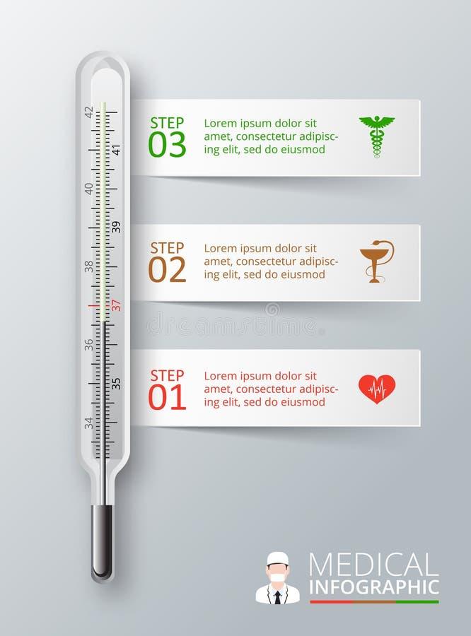 infographics的传染媒介温度计 库存例证