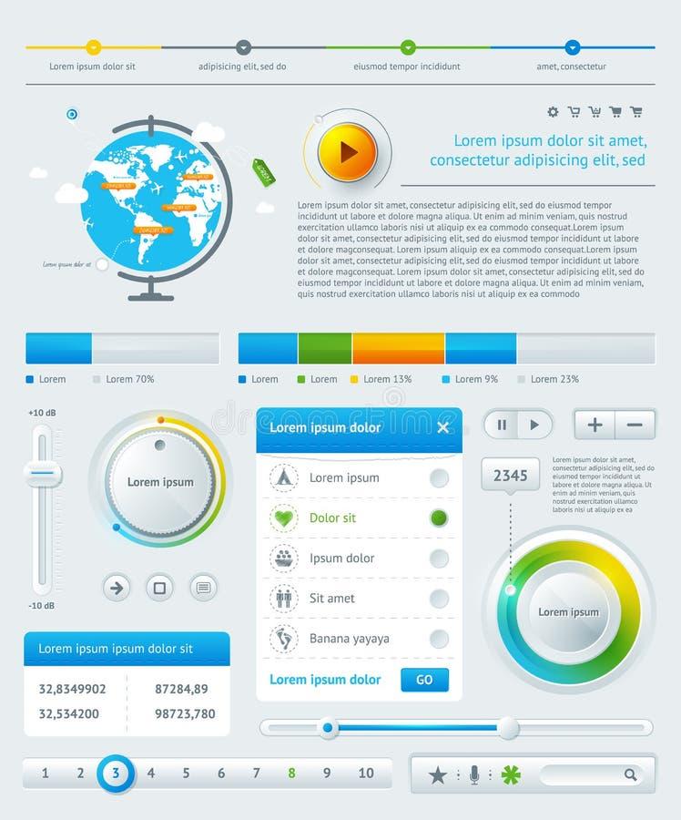 Infographics的要素与按钮的 向量例证